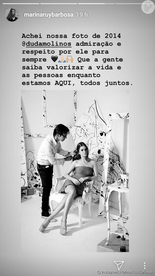 Marina Ruy Barbosa lamentou morte do maquiador Duda Molinos: 'Admiração e respeito para sempre'