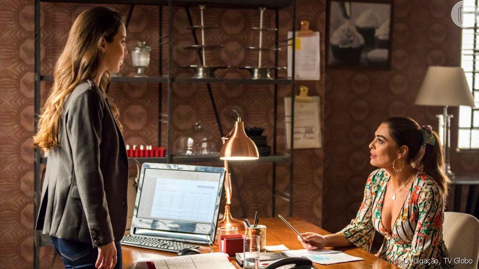 Nos próximos capítulos da novela 'A Dona do Pedaço', Fabiana (Nathalia Dill) promete acabar com Maria da Paz (Juliana Paes): 'O que eu tiver que fazer para acabar com sua confeitaria, eu vou fazer'