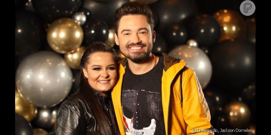 Maiara e Fernando Zor cobinaram os pijamas para uma festa com show de Maiara e Maraisa em SP