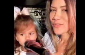 Filha de 2 anos do sertanejo Cristiano toca bateria e 'invade' show do pai. Veja