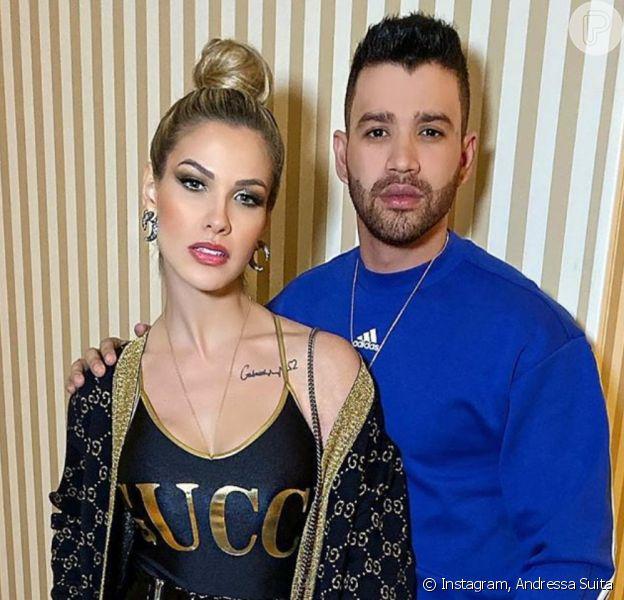 Gusttavo Lima chama Andressa Suita no palco e pede 3º filho em show na noite de sábado, dia 02 de novembro de 2019