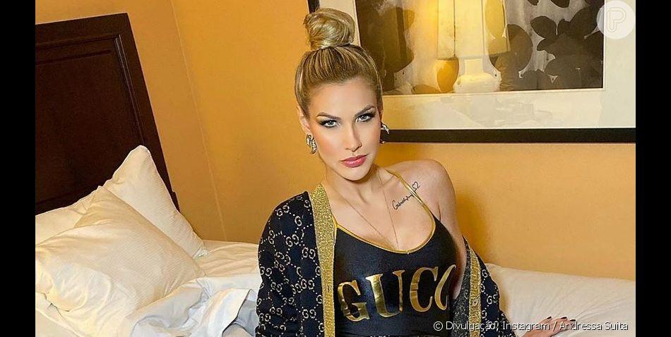 Andressa Suita volta a escolher peças da Gucci para compor look para show de Gusttavo Lima nos Estados Unidos, em 3 de novembro de 2019