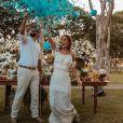 Sorocaba e Biah Rodrigues revelaram sexo do bebê em casamento