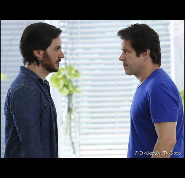 Jonas (Murilo Benício) desmascara Herval (Ricardo Tozzi) e revela a Pamela (Cláudia Abreu) que foi ele o autor da sabotagem na Marra Brasil, em 'Geração Brasil', em 29 de outubro de 2014