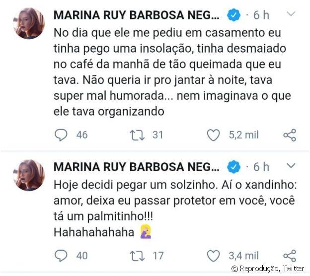 Marina Ruy Barbosa conta indireta do marido