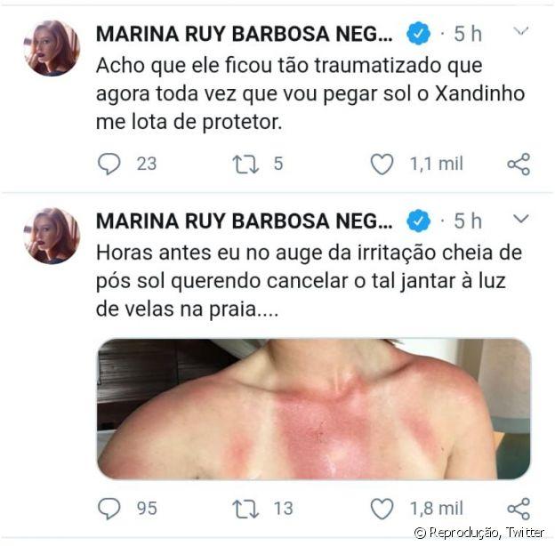 Marina Ruy Barbosa mostra marca de biquíni pós insolação