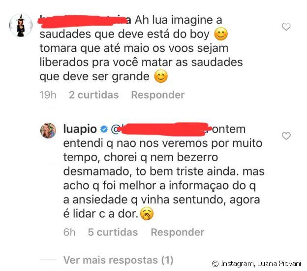 Luana Piovani lamenta saudades do namorado