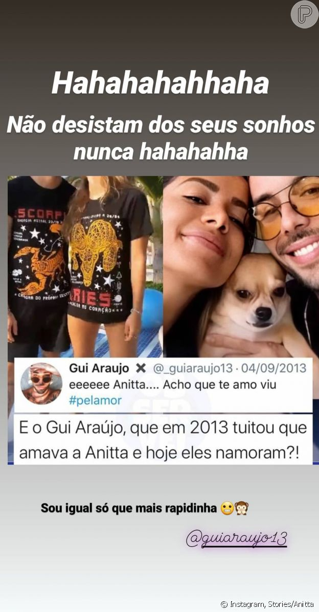 Anitta reage a tweet antigo do namorado, Gui Araújo