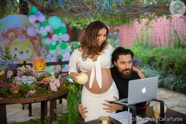Chá de bebê virtual foi a ideia de Liah Soares e Carlo Porto para dividir o momento especial da gravidez com amigos e fãs