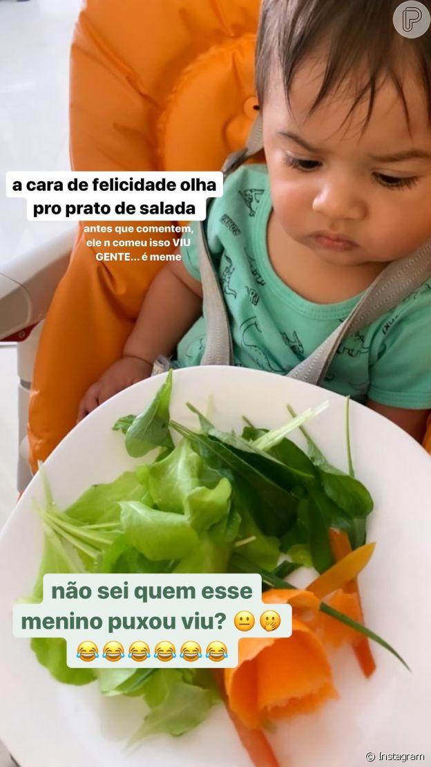 Marília Mendonça exibe reação do filho, Léo, à salada: 'Não sei a quem puxou'