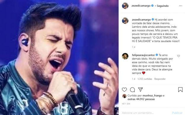 Zezé Di Camargo fez homenagem a Cristiano Araújo