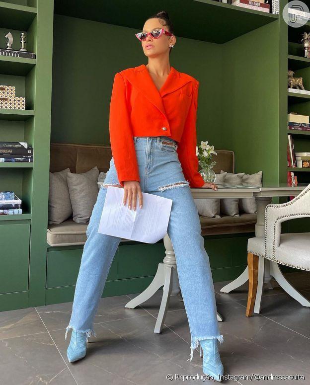 Jeans é coringa no closet de Andressa Suita