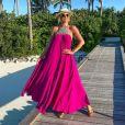 Ana Paula Siebert usou vestido amplo durante tarde de lazer em viagem às Maldivas