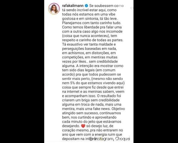 Rafa Kalimann afastou rumor de desavença com Bruna Marquezine