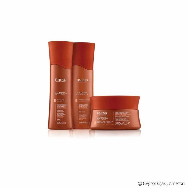 Kit Amend, com shampoo, condicionador e máscara tonalizante para cabelos ruivos