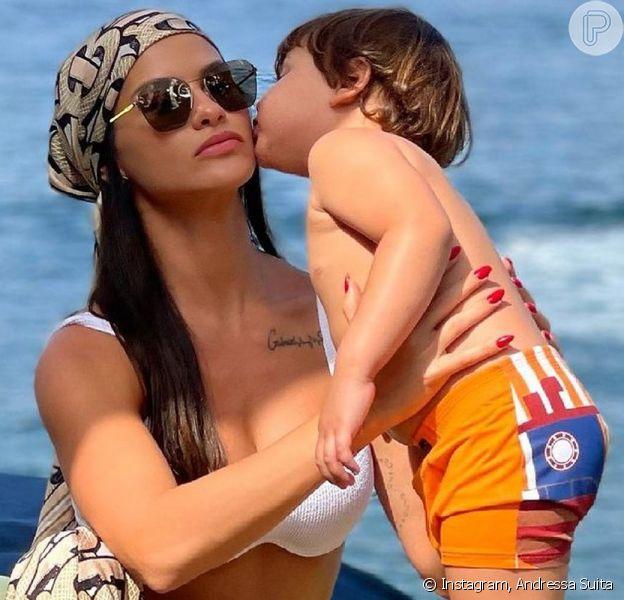Andressa Suita mostrou um carinho do filho mais novo, Samuel