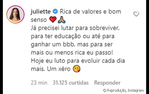 Juliette rebate comentário polêmico de Val Marchiori