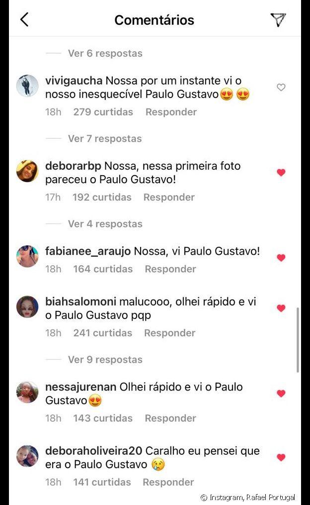 Internautas apontam semelhança de Rafael Portugal com Paulo Gustavo