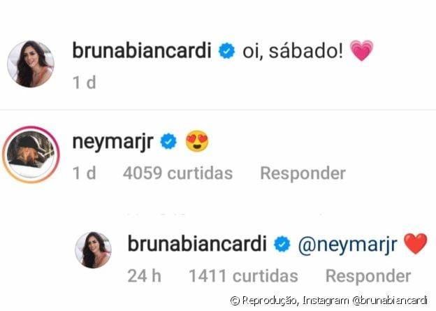 Bruna Biancardi e Neymar trocam mensagens românticas no Instagram