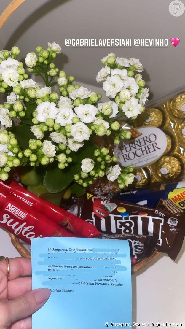 Kevinho manda chocolates e flores a Zé Felipe e Virgínia Fonseca após inmorte de Mario Serrão