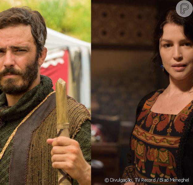 Novela 'Gênesis': Judá (Thiago Rodrigues) e Muriel (Rhaisa Batista) contam para a família que estão grávidos