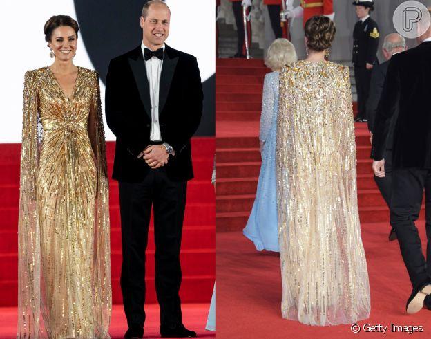 Vestido dourado de Kate Middleton: detalhes em frente e verso da peça