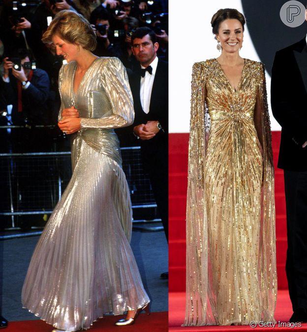 Diana usou vestido metalizado em 1985: look de Kate Middleton teve inspiração