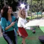 Fátima Bernardes faz agachamento no 'Encontro' e brinca: 'De salto é ótimo'