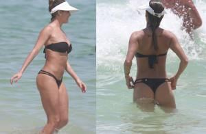 Deborah Secco exibe boa forma com biquíni preto em praia do Rio de Janeiro