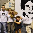 Cissa Guimarães com os filhos Thomáz e João Velho e com Camilla, irmã de Rafael por parte de pai, na reinauguração do túnel