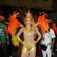 Em 2014, Monique Alfradique optou por uma fantasia com ar de comportada, mas que era ousada no desfile da Grande Rio