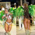 Viviane Araújo costuma exibir a boa forma no Carnaval. Em 2009, ela chamou a atenção à frente da bateria da Mancha Verde no Sambódromo paulista