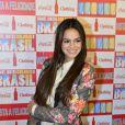 Antes de entrar na passarela da Coca-Cola Clothing, Bruna Marquezine participou de uma coletiva de imprensa da marca