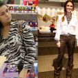 Giovanna Antonelli já foi fotografada algumas vezes usando roupa com estampa de animais. Uma dela foi ao ser flagrada em um shopping com uma blusa de zebra e no Fashion Rio ela usou uma calça de onça envernizada