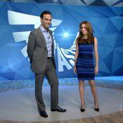 Poliana Abritta usa vestido azul e preto que gerou polêmica no 'Fantástico'