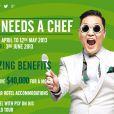 Psy procura um chef de cozinha para acompanhá-lo em sua turnê mundial, pagando o salário de R$ 80 mil. A campanha está sendo feita pelo facebook, em abril de 2013
