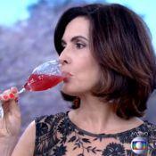 Fátima Bernardes experimenta chá gasoso e afirma: 'Não gosto de nada alcoólico'