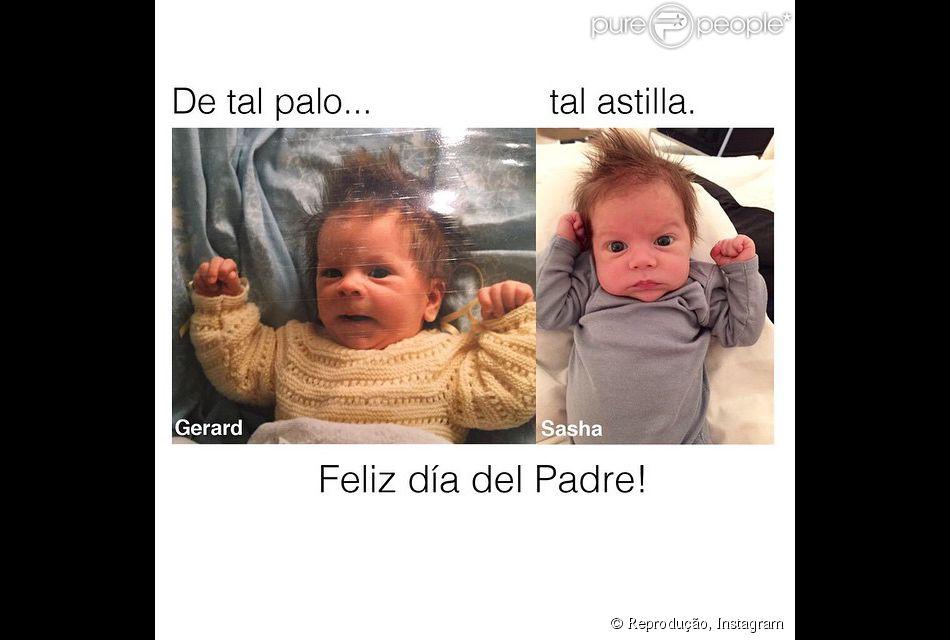 Shakira mostra semelhança entre o filho Sasha e o marido, Gerard Piqué em foto, nesta quinta-feira, 19 de março de 2015