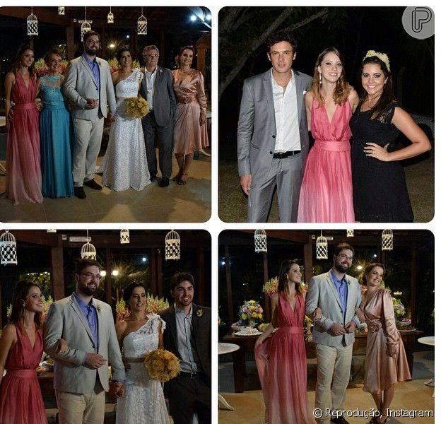 Nathalia Dill e Sergio Guizé foram ao casamento do irmão da atriz, Victor, em Vila Velha, no Espírito Santo, no último sábado, 18 de abril de 2015