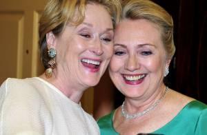 Meryl Streep aplaude Dustin Hoffman e tira foto com Hillary Clinton nos EUA