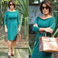 Beatriz (Gloria Pires) usou o vestido verde da grife Alphorria de  R$849,75  quando apareceu (sem ser convidada!) no casamento de seu amante, Diogo (Thiago Martins)