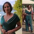 O macacão verde da Alphorria de  R$748,50  foi usado pela personagem de Gloria Pires no dia em que Beatriz conheceu Diogo (Thiago Martins) em uma festa em Angra dos Reis