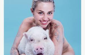 Miley Cyrus posa nua com sua porca e com o corpo sujo de lama na capa da 'Paper'