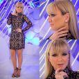 No programa do dia 5 de julho de 2015 Eliana usou um vestido da marca Tufi Duek, sandália da grife Gucci e joias da marca Aron & Hirschi