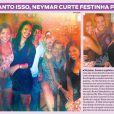 Nas fotos, Neymar, Lucas e Júlio César aparecem abraçados a mulheres, em festa