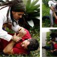 A briga fica feia entre Ninho (Juliano Cazarré) e Bruno (Malvino Salvador), em cena de 'Amor à Vida'