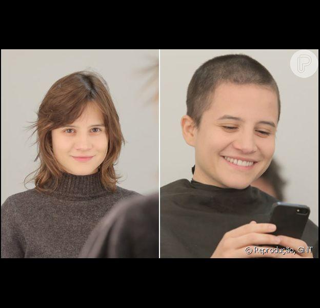 Bianca Comparato raspou os cabelos para série 'Sessão terapia', do canal GNT